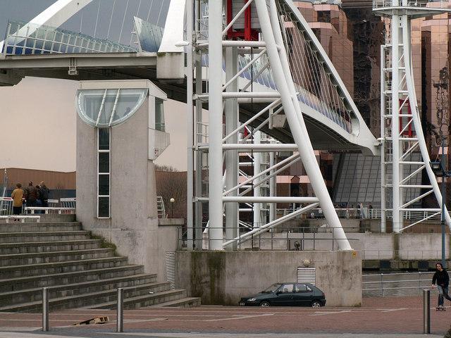 Lifting footbridge near The Lowry