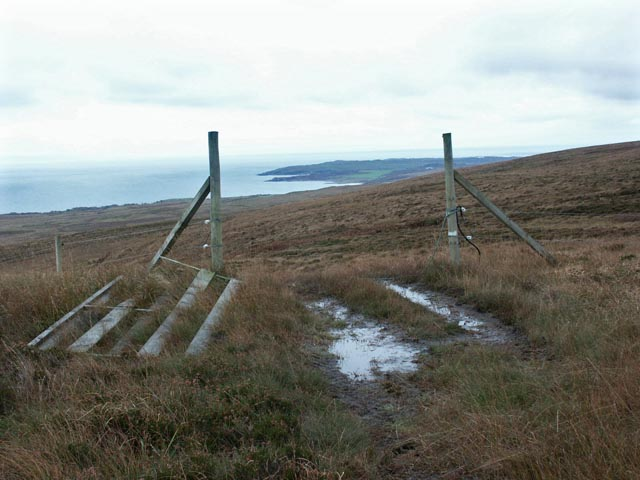 View across moorland towards Claggain Bay, Islay