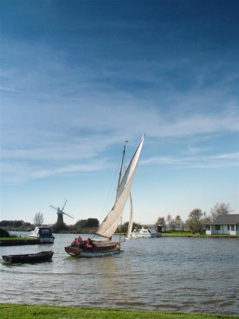 Sailing through Thurne. Norfolk