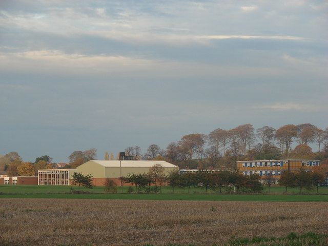Carleton High School, viewed from junction Moor Lane and Hardwick Road.