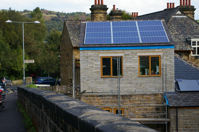 Solar panels on building near Todmorden station car park