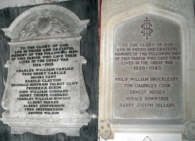 Thornton Curtis War Memorial Tablets
