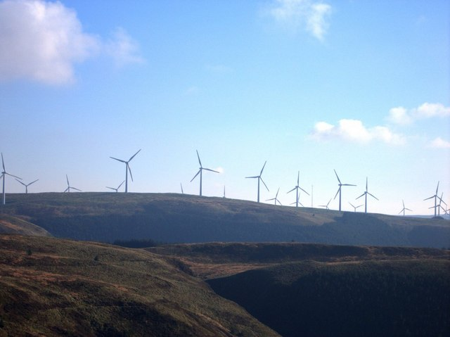 View of Cefn Croes wind power station from Bwlch Helygen