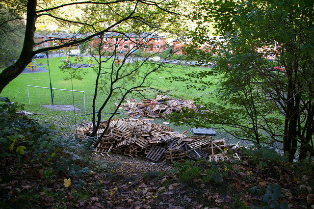 Bonfire under construction at recreation ground, Eaves