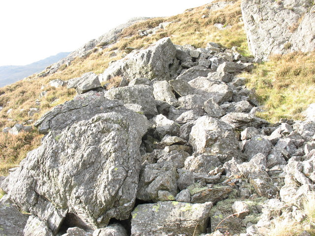 A boulder field of rocks of the Snowdon volcanic series