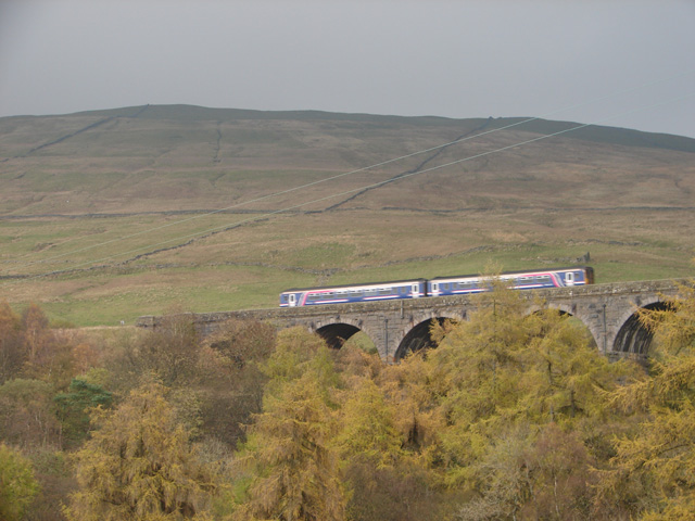 A train crossing Dent Head Viaduct