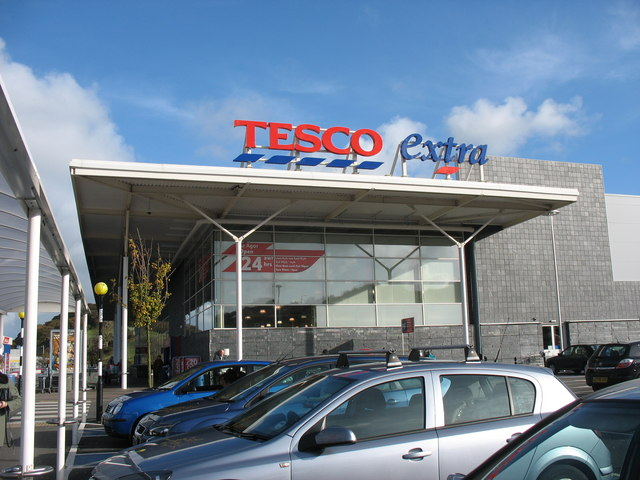 The entrance area of the new Tesco extra store