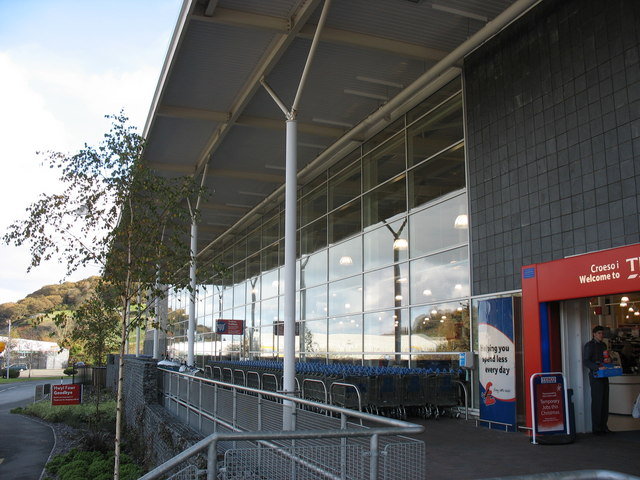 The Frontage of the Tesco extra superstore on the Bangor Retail Estate
