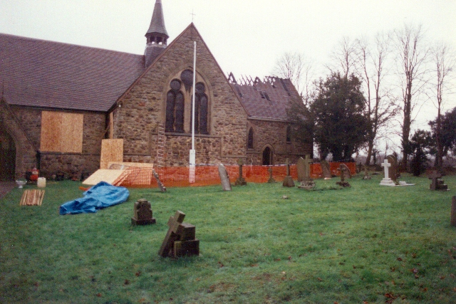 St. Oswald's Church, Worleston after the fire