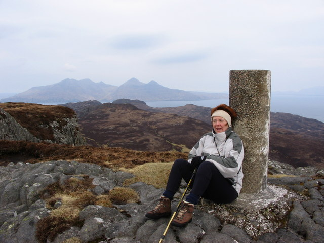 Trig point on An Sgurr looking towards Rum