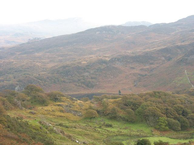 Llyn Dinas from near Hafod y porth Farm