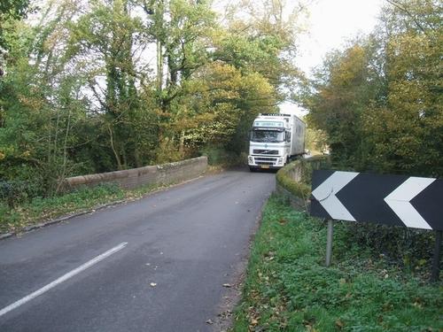 Big lorry on a small bridge