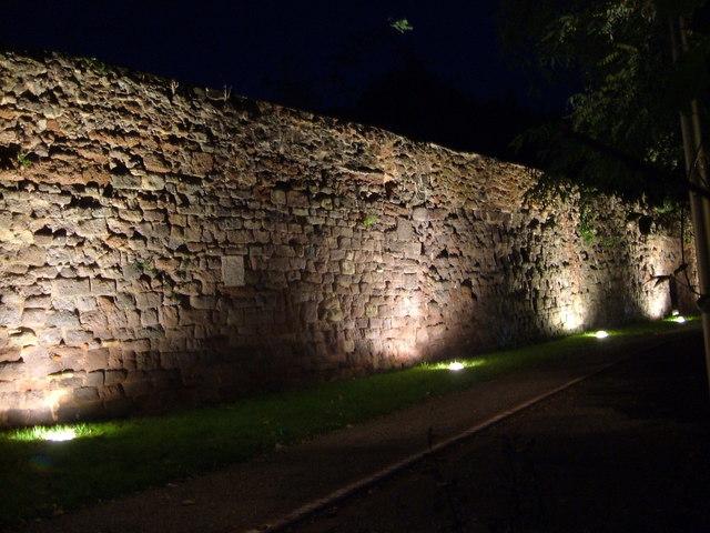 Exeter city wall at night