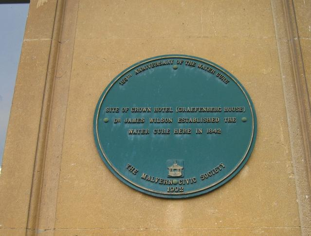 """Plaque commemorating the introduction of the """"Water Cure"""""""