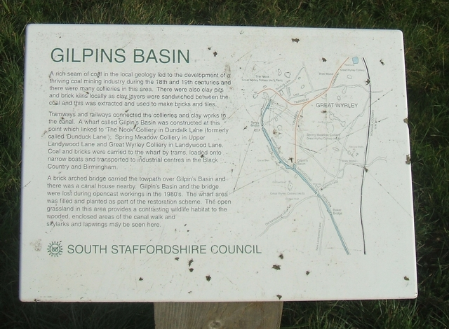 Sign at Gilpins Basin, Landywood