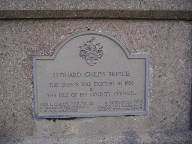The plaque on the Leonard Childs Bridge