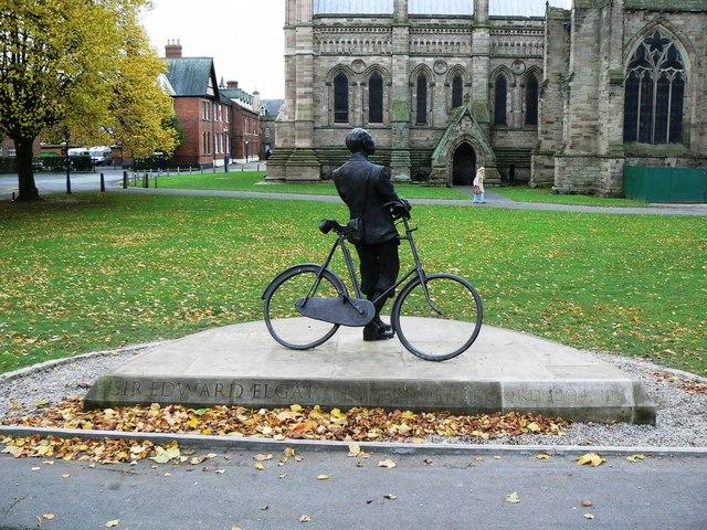 Sir Edward Elgar facing Hereford Cathedral