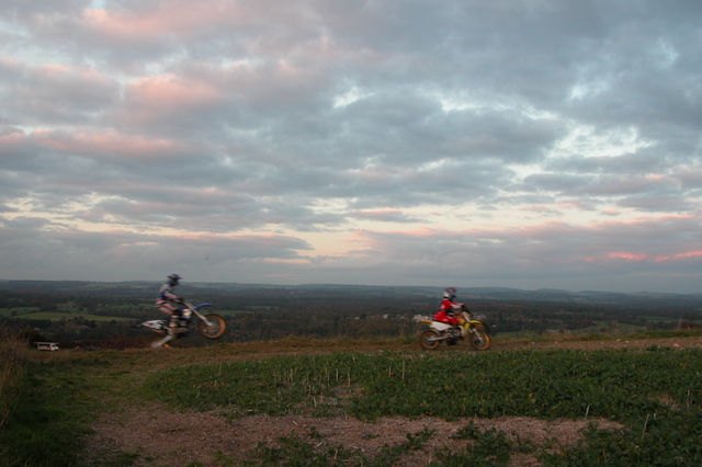 Trials riders practising along the top of Portsdown Hill