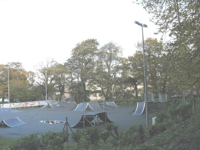 Skate Board Park and Graffiti Boards at Coed Helen