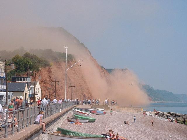 Salcombe Cliff - landslipping June 2001