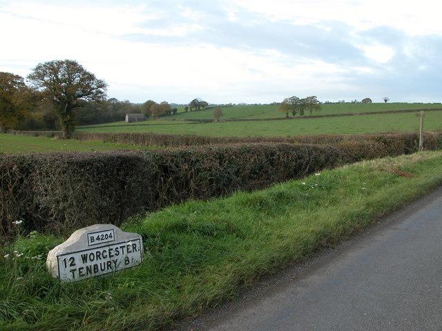 Milestone near Clifton-upon-Teme