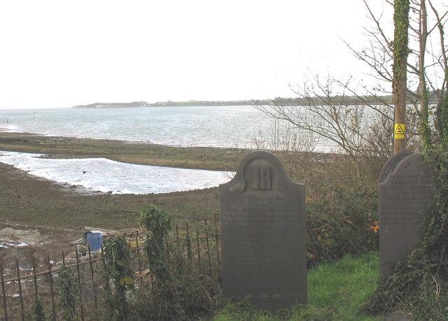 A coastal lagoon below Llanfair-is-gaer graveyard