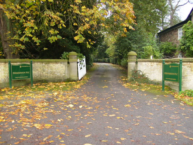 Driveway entrance to the HQ of Persimmon PLC