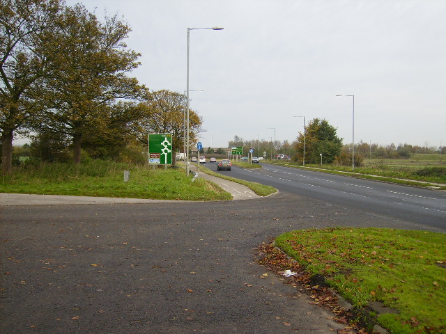 Approaching the A64 roundabout at Fulford on the A19