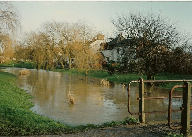 River Colne in spate at London Colney