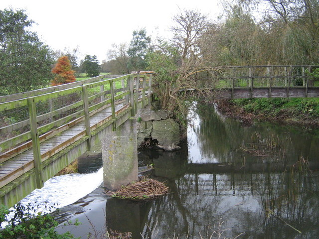 Footbridges and weir on the Yeo