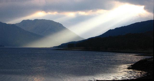 Sunbeam over Loch Leven