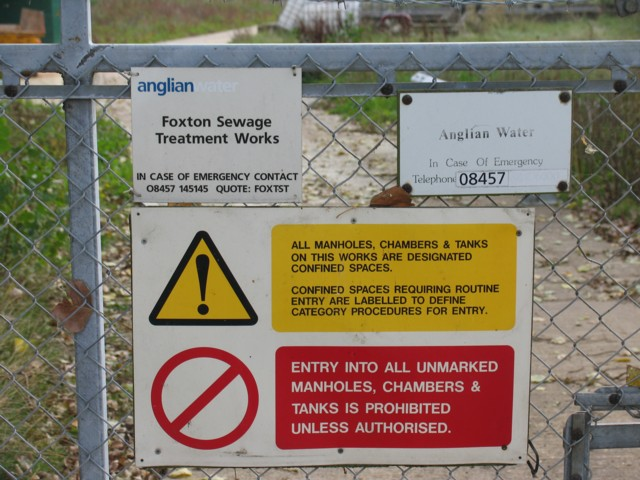 Foxton Sewage Treatment Works sign