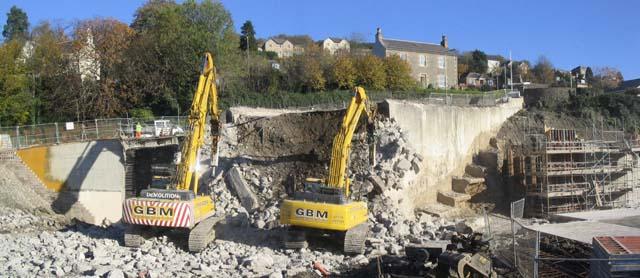 Demolition work in Galashiels