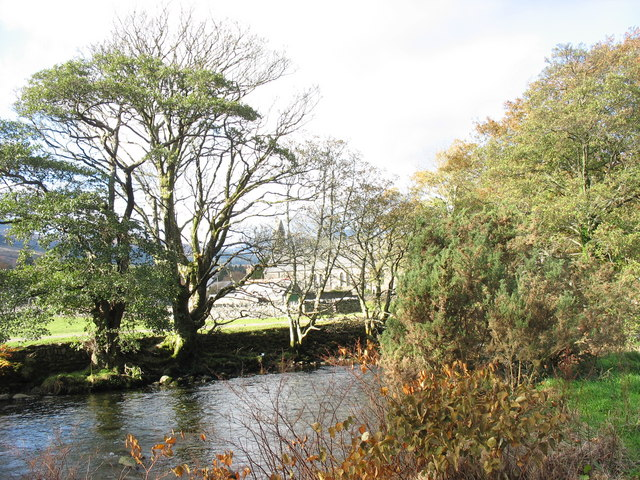 The view across Afon Glaslyn in the direction of St Mary's Churchyard