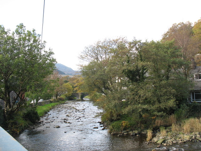 View up the Colwyn River towards Pont Beddgelert