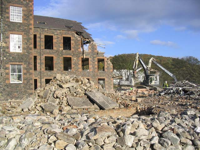 The demolition of the Lochcarron of Scotland Mill in Galashiels