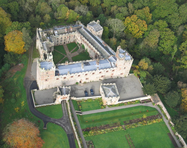 Aerial view of Naworth Castle