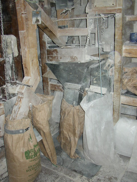 Filling sacks with flour in the corn mill, Little Salkeld