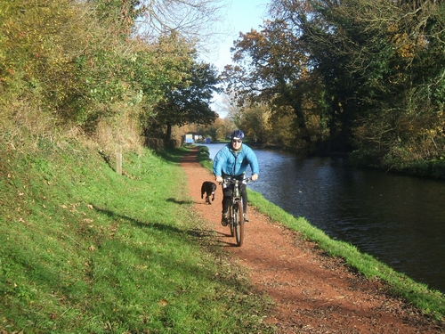 One man and his dog on a towpath