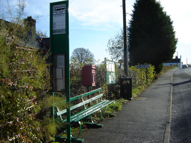 Bus stop / post box / noticeboard in Nercwys