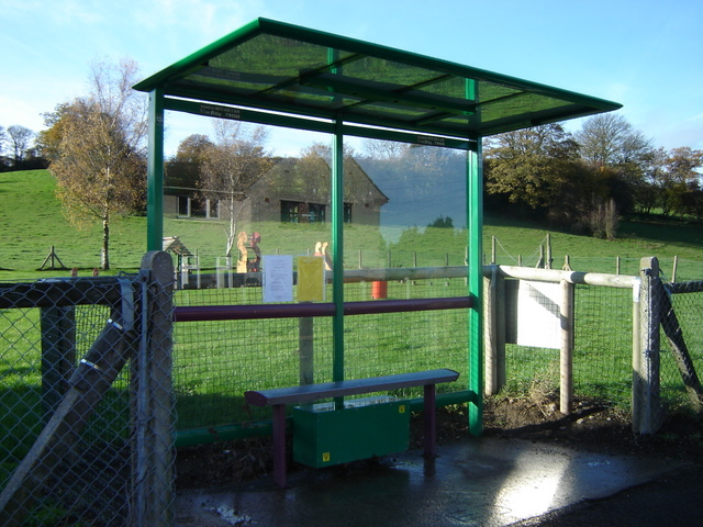 Bus shelter by playground in Nercwys
