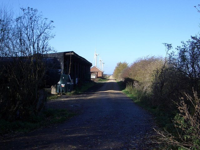 Farm Track leading to Wind Turbines, Vine House Farm