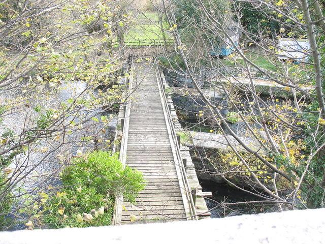 Overhead view of the disused Pontrhythallt railway bridge