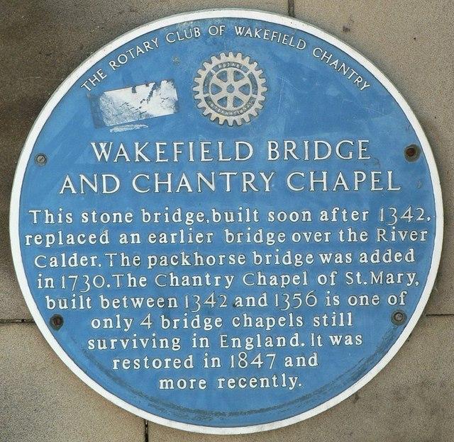 Blue Plaque, Chantry Chapel, Wakefield Bridge