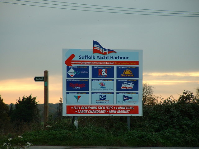 Entrance Sign for Suffolk Yacht Harbour