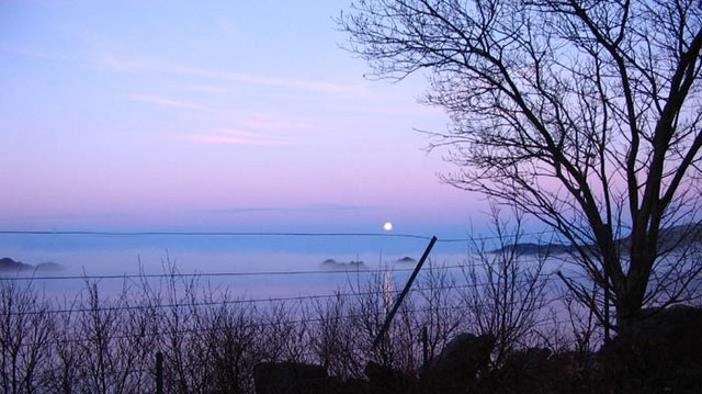 Moon setting over The Sound of Arisaig