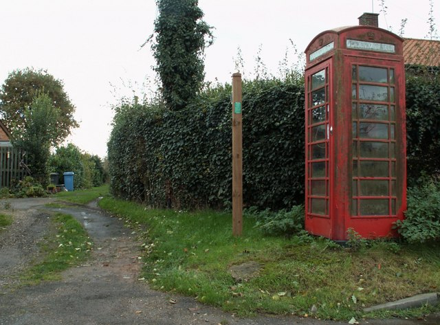 Phonebox and Public Footpath at Freston