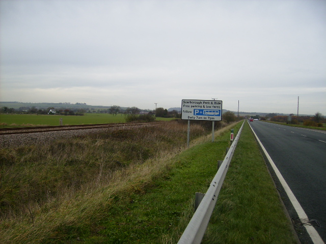 The A64 running parallel with the railway line near Seamer