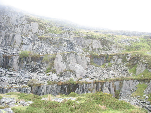 The eastern side of the slate extraction area
