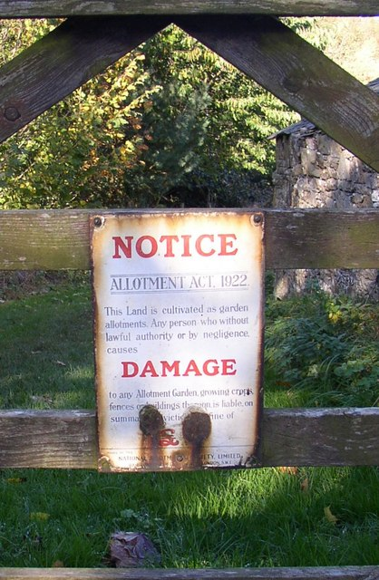 Sign on the gate to the allotments, Hesket Newmarket, Caldbeck CP